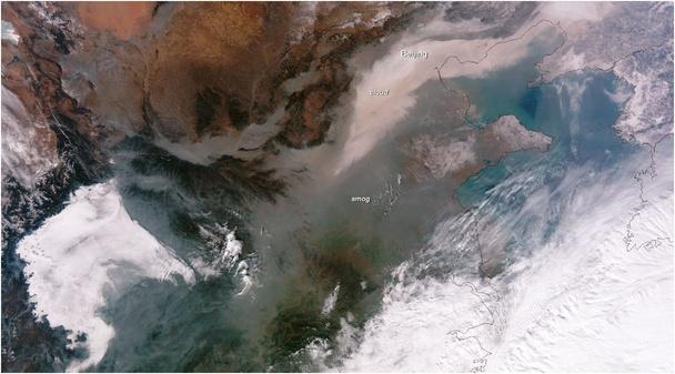 美国NASA拍摄中国空气污染卫星云图